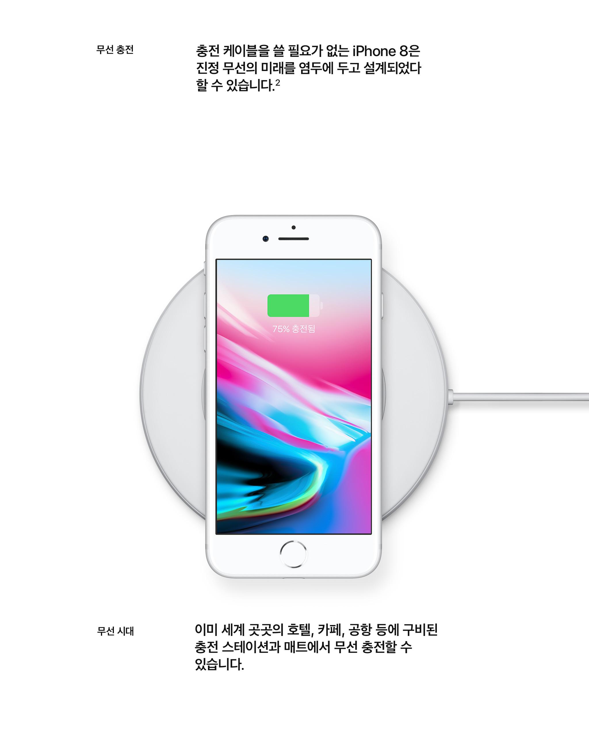 무선충전 충전 케이블을 쓸 필요가 없는 iPhone8은 진정 무선의 미래를 염두에 두고 설계되었다 할 수 있습니다. ² - 무선시대 이미 세계 곳곳의 호텔, 카페, 공항 등에 구비된 충전 스테이션과 매트에서 무선 충전할 수 있습니다.