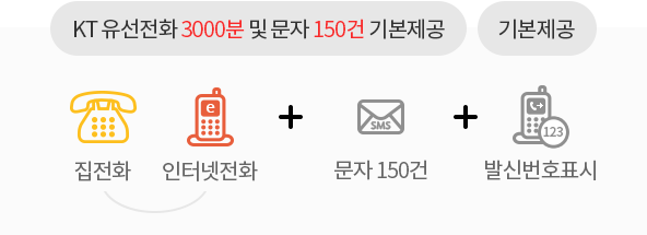 KT 유선전화 3000분(집전화, 인터넷전화) 및 문자 150건 기본제공 +발신번호표시 기본제공
