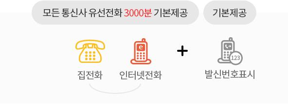 모든 통신사 유선전화 3000분(집전화,인터넷전화) 기본제공 + 발신번호표시 기본제공