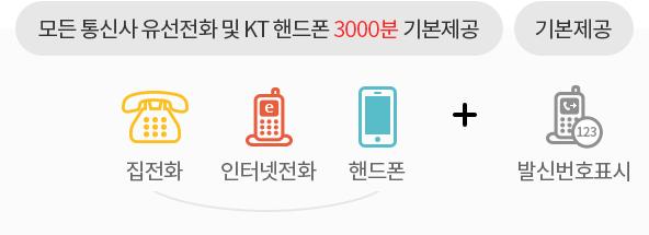 모든 통신사 유선전화 및 KT 핸드폰 3000분(집전화, 인터넷전화, 핸드폰) 기본제공 + 발신번호표시 기본제공
