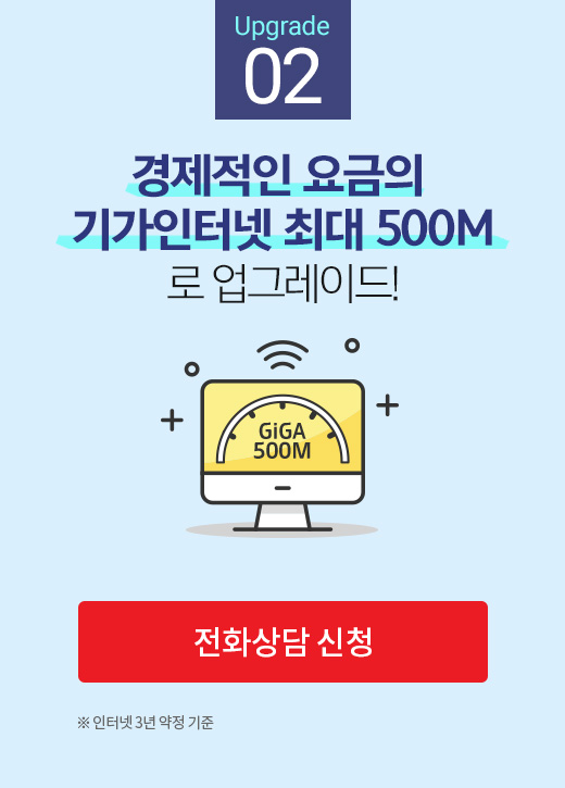 Upgrade 02. 경제적인 요금의 기가인터넷 최대 500M로 업그레이드! GiGA 500M ※인터넷 3년 약정 기준