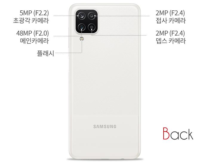 Back 초광각 카메라 5MP(F2.2), 접사카메라 2MP(F2.4), 뎁스카메라 2MP(F2.4), 메인 카메라 48MP(F2.0), 플래시