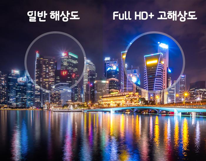 일반 해상도 와 Full HD+ 고해상도 비교 이미지