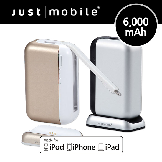 [노마진] [Just Mobile] 저스트모바일 탑검 보조배터리 6000mAh 8핀케이블일체형