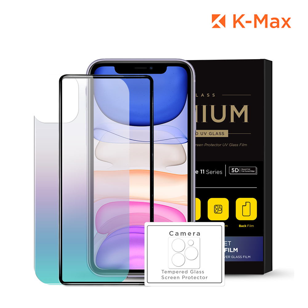 [K-MAX] 아이폰11 풀셋 강화유리 전면+후면+카메라 액정보호필름 패키지