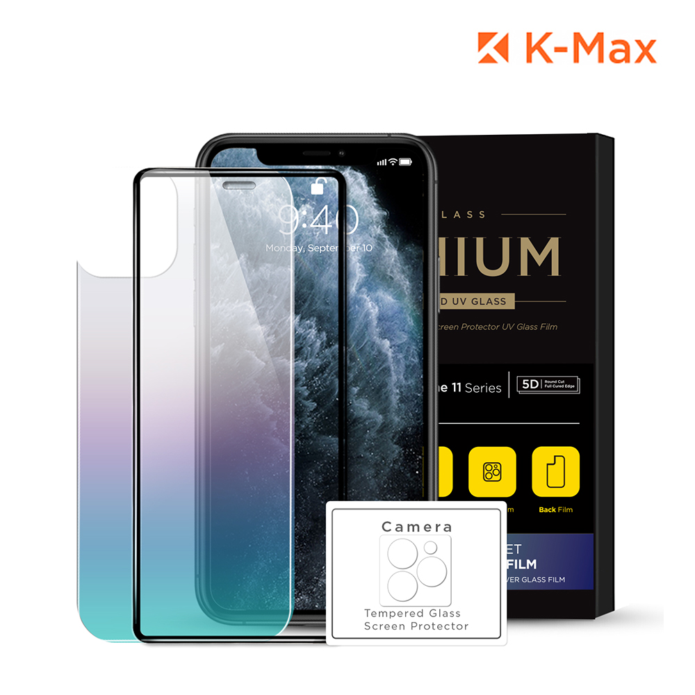 [K-MAX] 아이폰11 프로 Max 풀셋 강화유리 전면+후면+카메라 액정보호필름 패키지